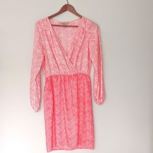 Harper and Gray pink faux wrap long sleeve dress